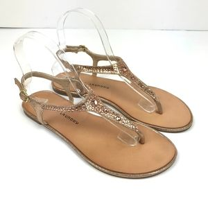 d89e2f18c4a Chinese Laundry Rose Gold Studded T-Strap Sandals